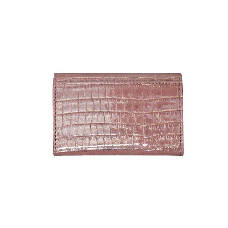 クロコ型押しレザー「ニナ」カードケース ダリア