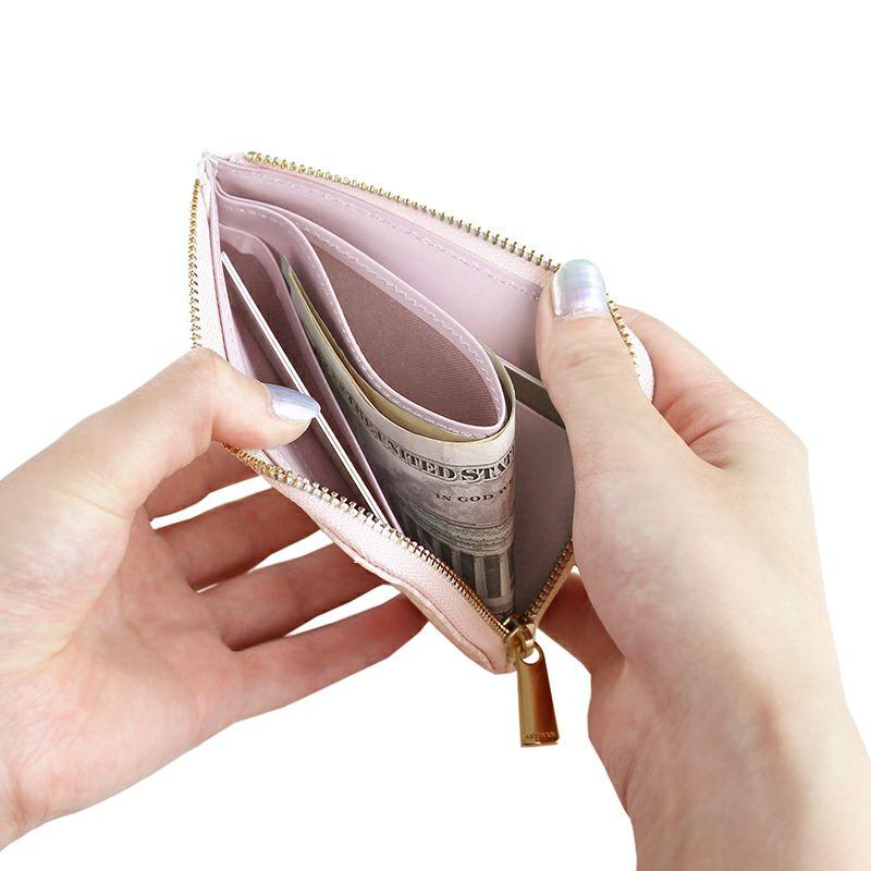 ローズ型押しレザー「シュクレ」ミニ財布(L字ファスナー)