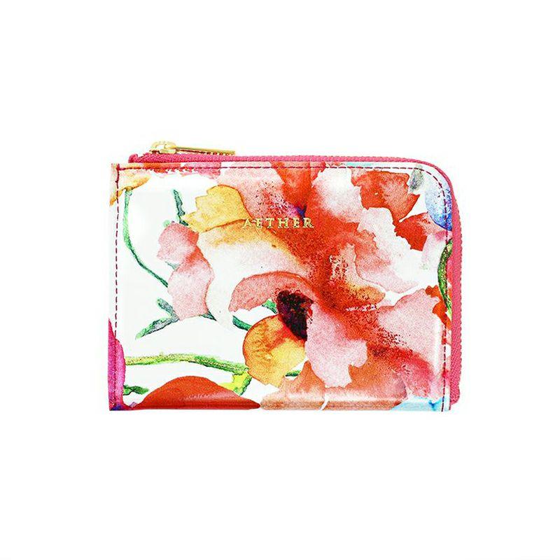エナメルレザー「フルール」ミニ財布(L字ファスナー)