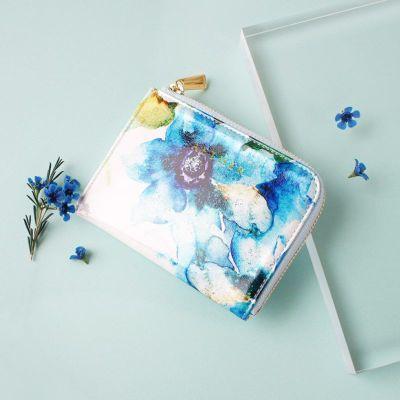 エナメルレザー「エトワールブルー」ミニ財布(L字ファスナー)