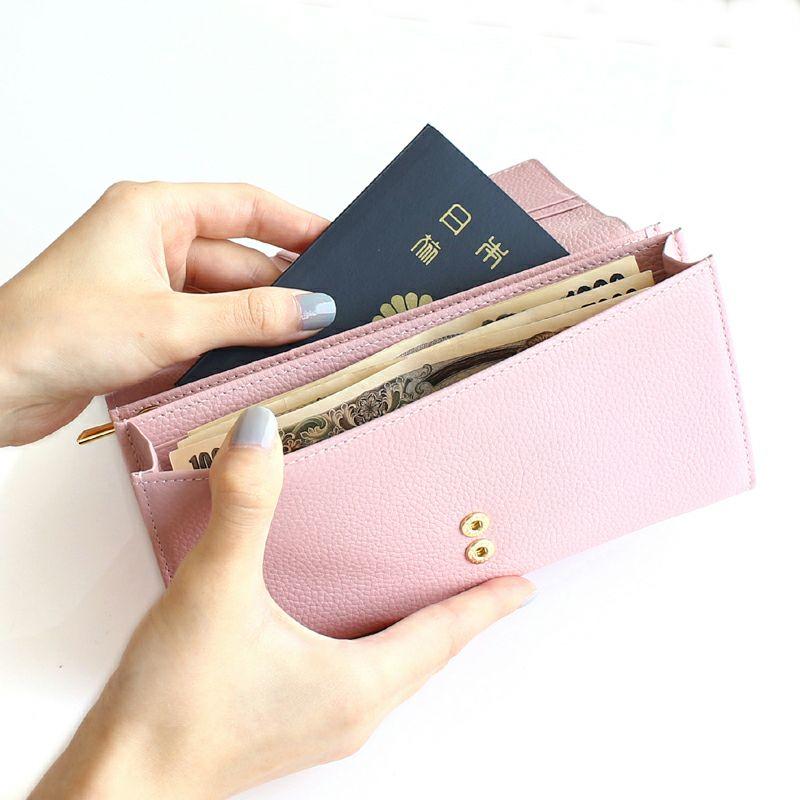 押し花レザー「ジプソフィア」長財布(かぶせ)