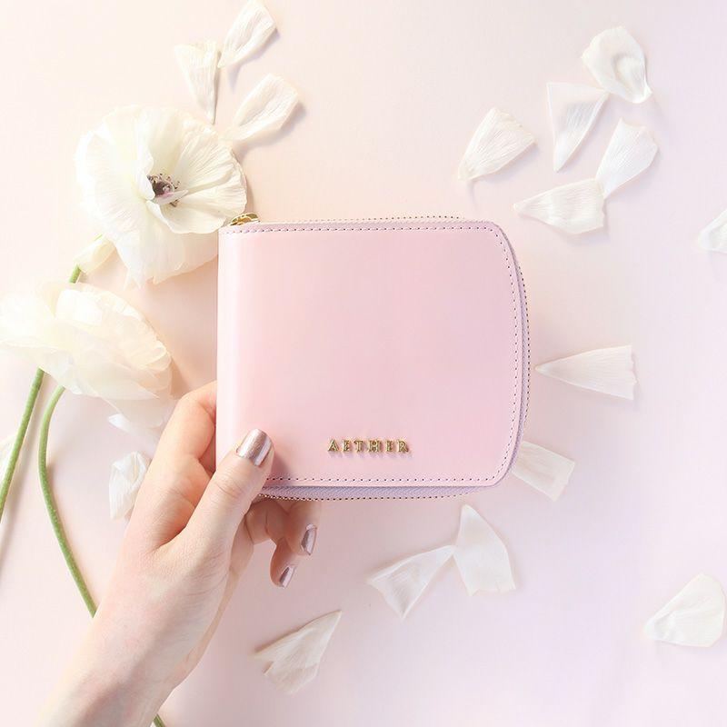 コードバン「ディアマン」二つ折り財布(ラウンドファスナー)クラシックレッド