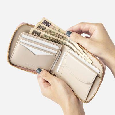 コードバン「ディアマン」二つ折り財布(ラウンドファスナー)ローズベージュ