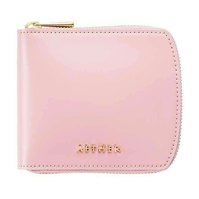 コードバン「ディアマン」二つ折り財布(ラウンドファスナー)ポケット