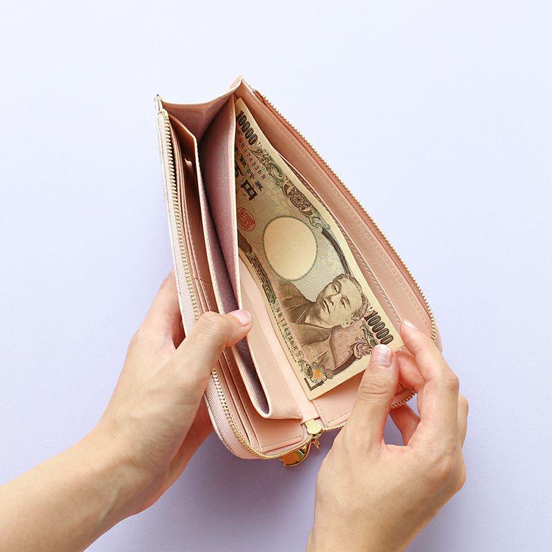 グレインレザー「サクラ」L字ファスナー長財布お札入れ×2