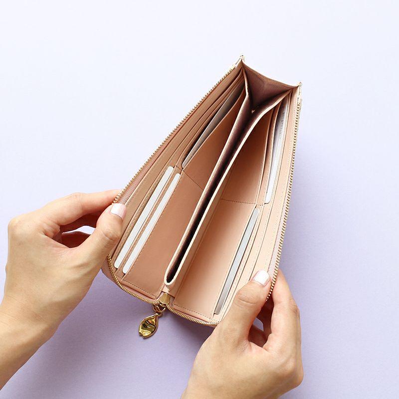 グレインレザー「サクラ」L字ファスナー長財布カードポケット×8