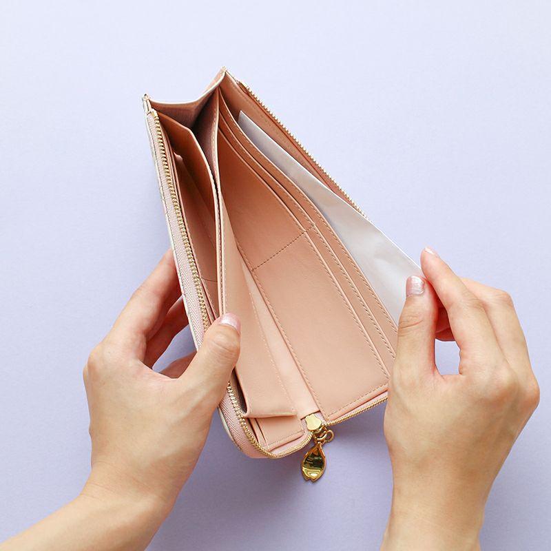 グレインレザー「サクラ」L字ファスナー長財布フリーポケット×2