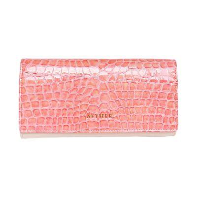 クロコ型押しレザー「ルシエル」長財布(かぶせ)ピンク