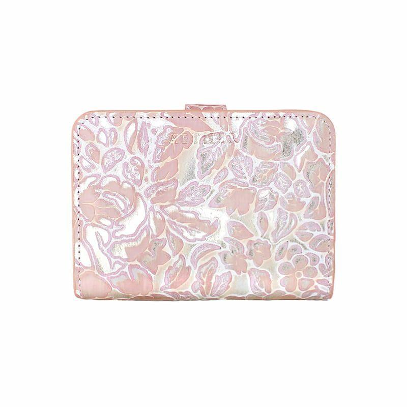 ローズ型押しレザー「シュクレ」二つ折り財布