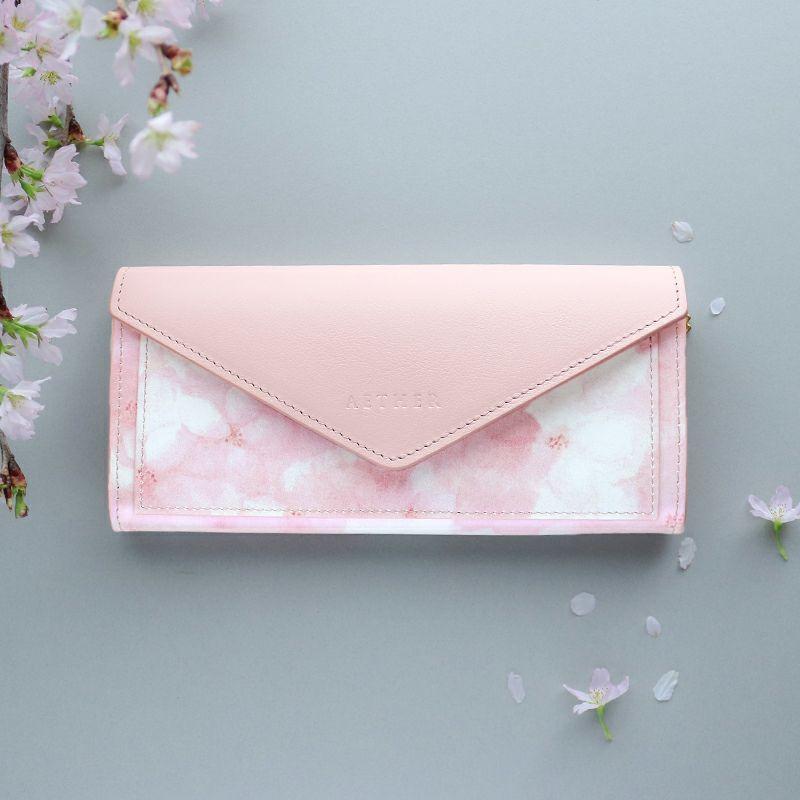 オリジナル桜柄レザー「フロレゾン」長財布(レター型)