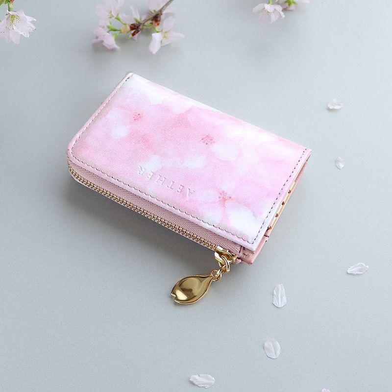 オリジナル桜柄レザー「フロレゾン」キーウォレット
